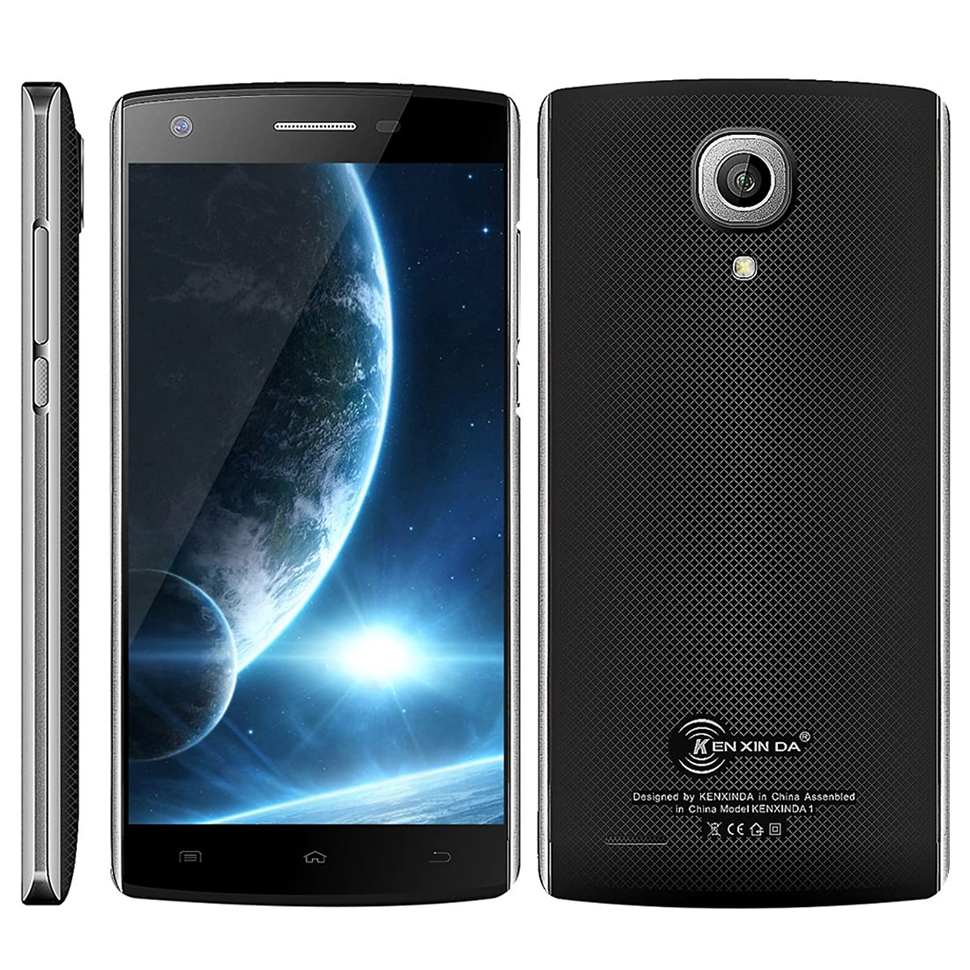 KEN XIN DA J7 Phone 5.0 inch Dual SIM 1GB+8GB 3100mAh Battery CellPhone, Android 5.1 MTK6580 Quad Core up to 1.3GHz 3G Network Smartphone, Support FM (Black)