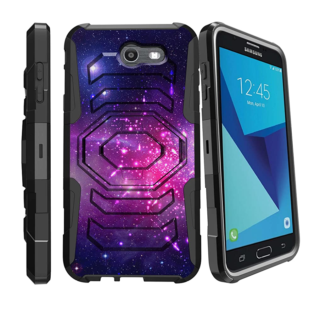MINITURTLE Case Compatible w/ Samsung Perx Holster Case| Galaxy J7 V Case| Samsung Sky Pro Case [Armor Reloaded] Holster Combo + Rugged Impact Resistant + Stand - Heavenly Stars