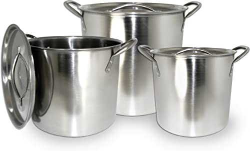 discount ExcelSteel new arrival Stainless Steel Stockpot with wholesale Lids, Set of 3, 3 Piece, Silver online sale