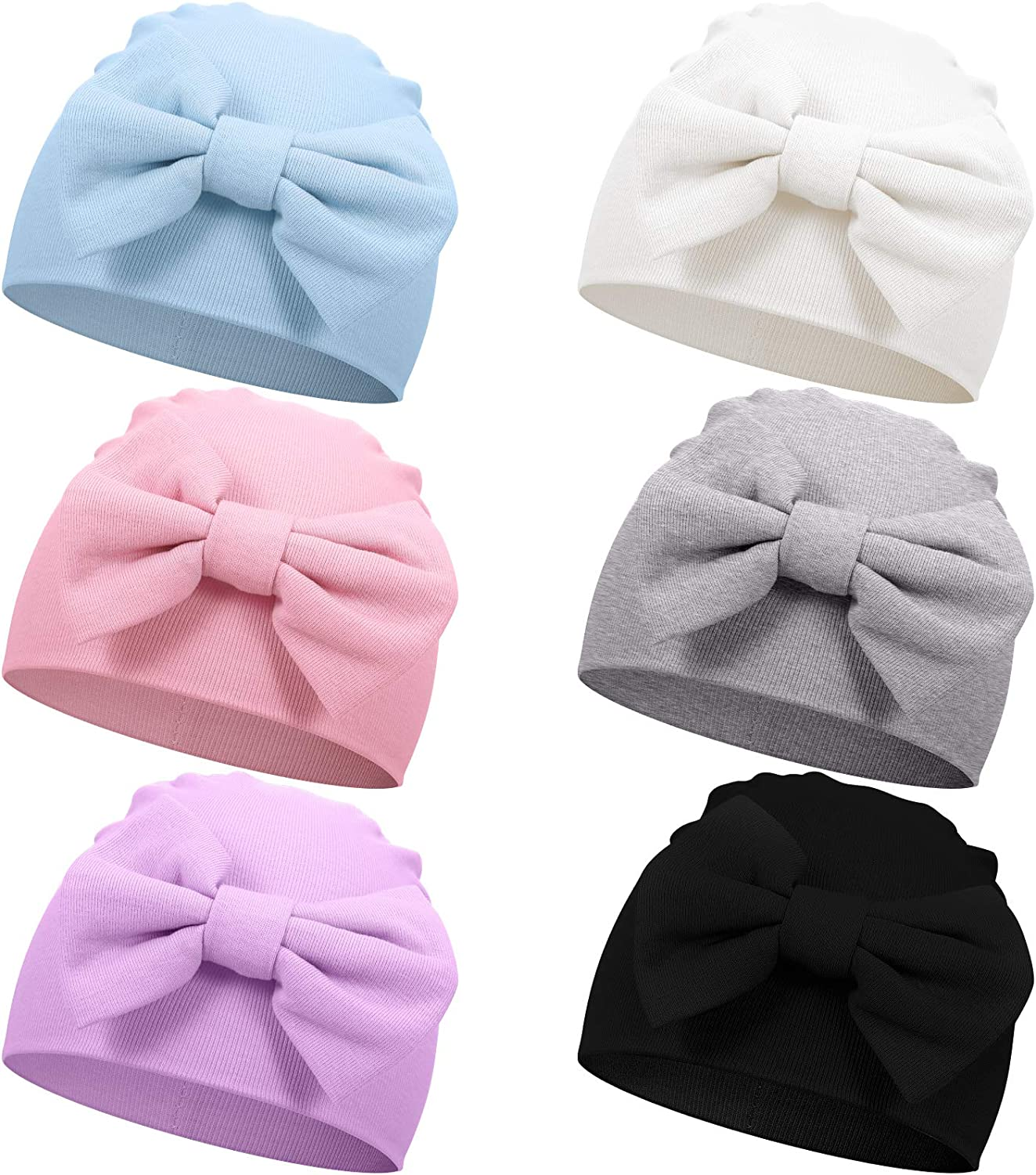 Geyoga 6 Pieces Newborn Baby Unisex Soft Beanie Hat with Cute Bow for 0-6 Months Baby