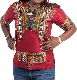 Afrihili Red Dashiki African Print Dress Shirt for Men and Women