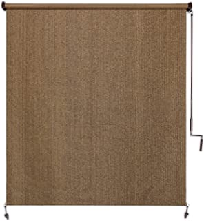 Coolaroo Exterior Roller Shade, Cordless Roller Shade with 95% UV Protection, No Valance, (6' W X 8' L), Walnut