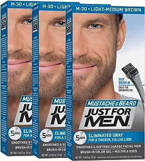 Just For Men Mustache & Beard Color, Beard Coloring for Men, Light-Medium Brown, Pack of 3