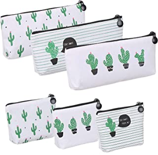 Elisel 3 Pieces Pencil Bag and 3 Pieces Coin Purse Assorted Canvas Pen Bag Pastoral Floral Cactus Design Stationery Pencil Pouch Travelling Cosmetic Bags Storage Bag (Medium Sized 1)