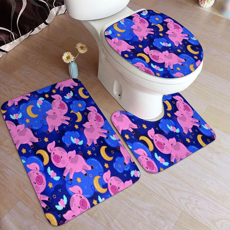 HASENCIV 3 Piece Bathroom Rug Set half Max 84% OFF Cute Moon Night with Sky C Pig