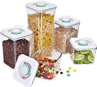 JSLOVE Boîte de Rangement Cuisine Lot de 5, Boîte de Conservation Alimentaire Plastique avec Couvercle, Récipients Herméti...