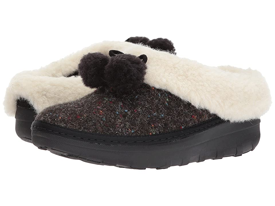 FitFlop Loaff Snug Pom Slippers (Black) Women