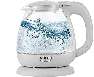Acero Inoxidable 2200 W adler hervidor de Agua de Cristal 0 Decibeles schwarz//silber//transparent 1.8 litros