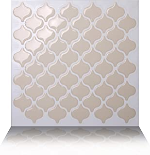 Tic Tac Tiles 10-Sheet Peel and Stick Self Adhesive Removable Stick On Kitchen Backsplash Bathroom 3D Wall Sticker Wallpaper Tiles in Damask Dolce