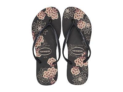 Havaianas Slim Organic Flip Flops (Black/Dark Grey Metallic) Women
