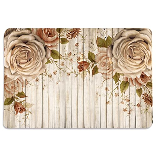 Walls And Murals Roses And Wood Planks Hd Digital 12X18 Inches Cotton Dining Table Place Mats(Set Of 6)