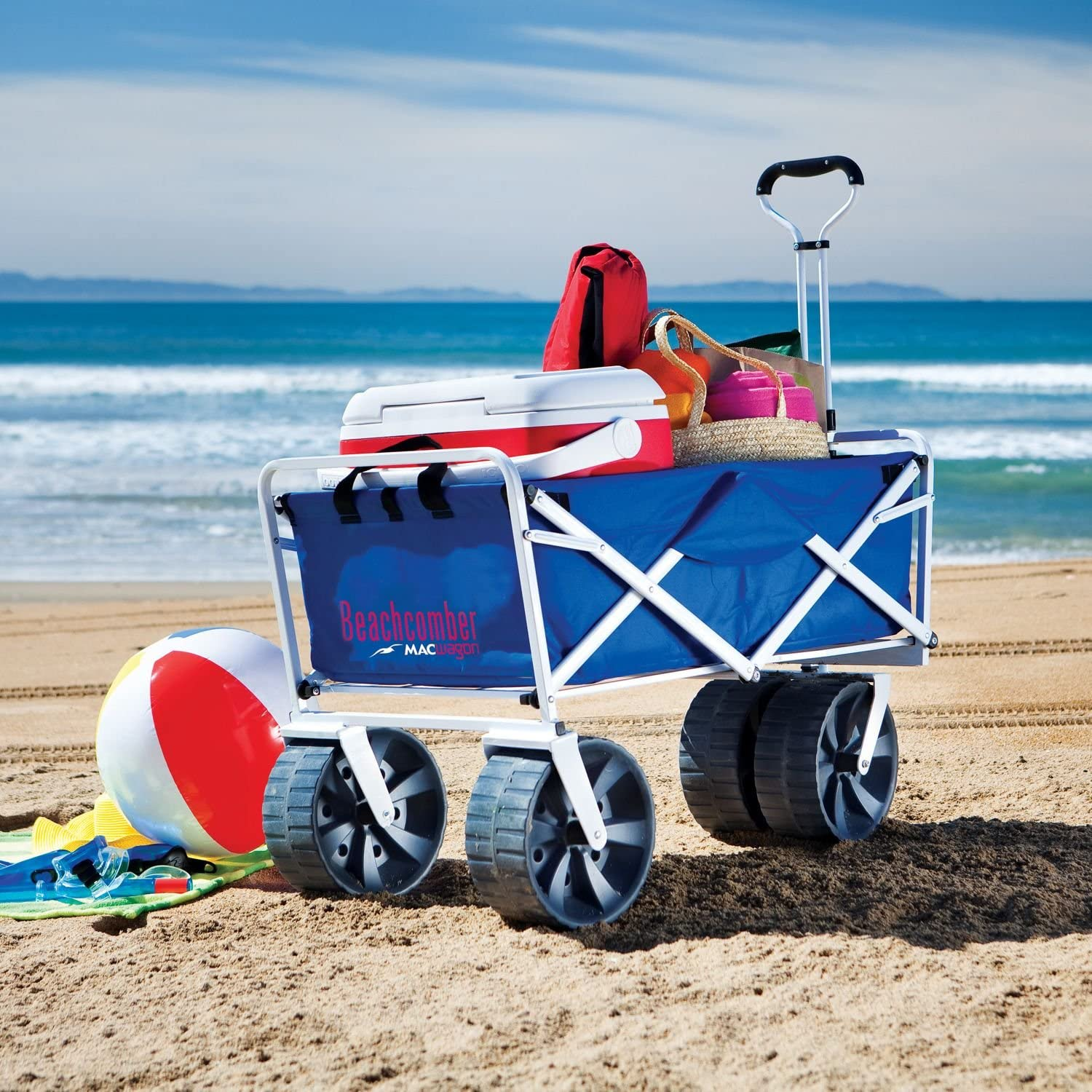 Folding Beach Wagon Limited price sale All Terrain Blue S Collapsible Kart Foldable OFFicial