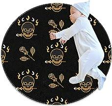 Guld skalle och rosor, barn rund matta polyester överkast matta mjuk pedagogisk tvättbar matta barnkammare tipi tält lekmatta