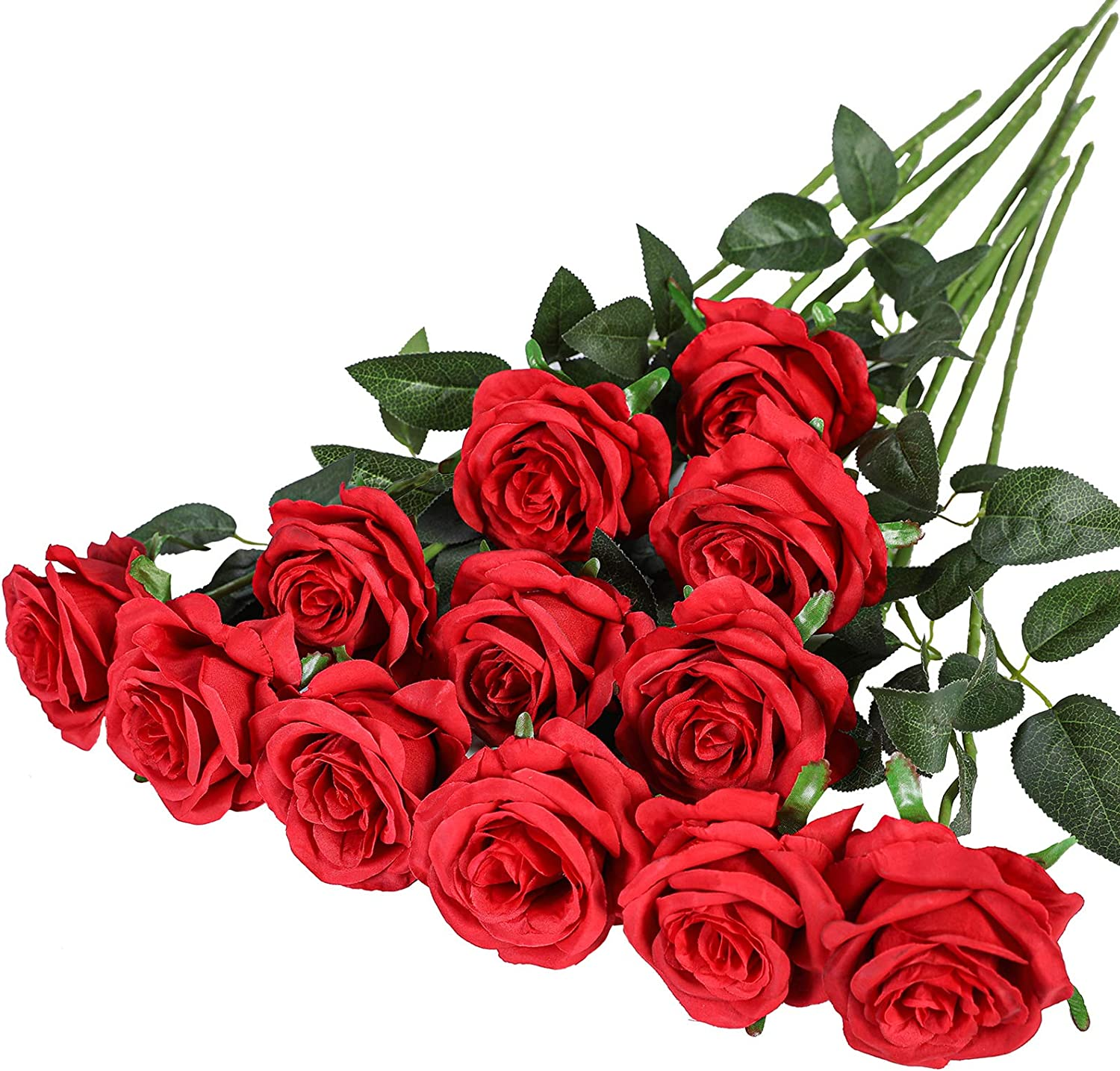 Hawesome 12PCS Artificial Roses Flowers Silk Realistic Blossom Roses Bridal Wedding Bouquet Long Stem for Home Wedding Decoration Party 12pcs-red