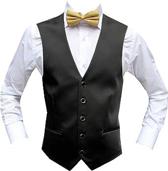 Chaleco de boda negro con pajarita dorada Negro 38 W/30 L ...
