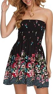 Women Strapless Black Mini Dress Summer Tube Top Dresses