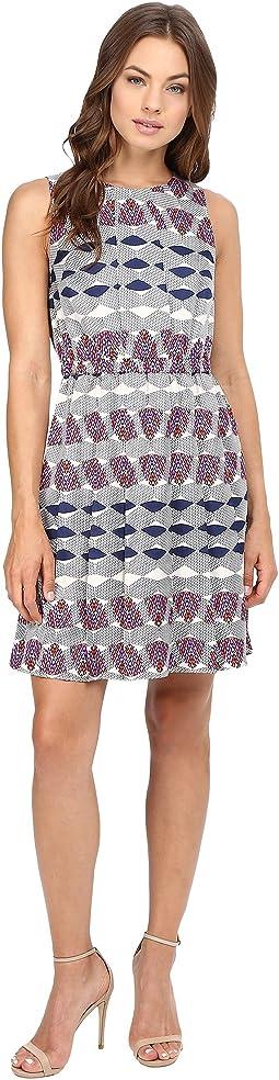 Poly Twill Elastic Waist Wide Pleat Dress