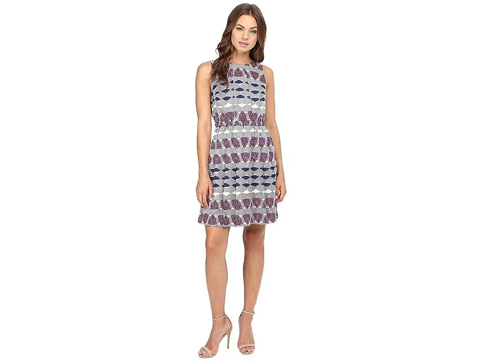 Donna Morgan Poly Twill Elastic Waist Wide Pleat Dress (Navy Fashion Multi) Women