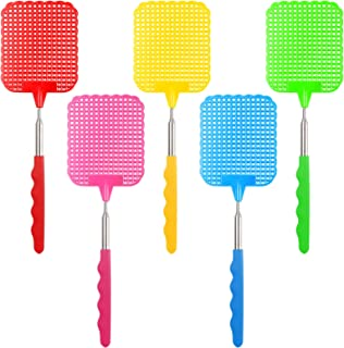 STUHAD 5 Pack Retractable Fly Swatters, with Extended Handles, Durable Retractable Handles, Fly Swatter Heavy Duty Set, for Home, Classroom and Office, 5 Colors