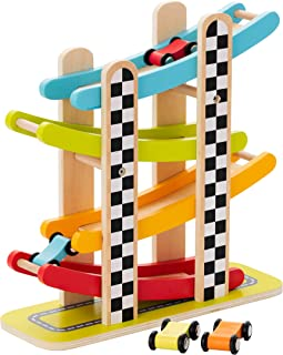 KIDDERY TOYS Wooden Toys for Kids- Bright Tower Ramp Car Racer Track for Toddlers - Premium Quality Safe Materials - Practical & Easy to Store - Age 18 Months and Up