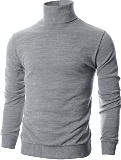 Ohoo Mens Slim Fit Long Sleeve Turtleneck Mixed Ribbed Hem Pullover Sweater