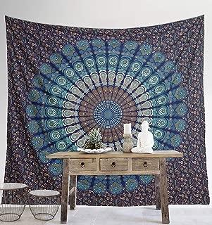 Madhu International Mandala Bohemian Tapestry Wall Hanging, Psychedelic Wall Art, Dorm Décor Beach Throw, Indian Wall Tapestries (Blue Green, King(90x108Inches)(230x275Cms))