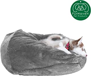 Furhaven Pet Dog Bed | Round Plush Faux Fur Refillable Ball Nest Cushion Pet Bed w/ Removable Cover for Dogs & Cats, Gray Mist, Medium
