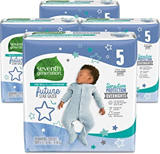 Seventh Generation Baby Overnight Diapers, Free & Clear, Stage 5, 27-35lbs, 80 count (Packaging May Vary
