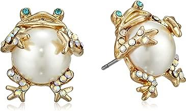 Betsey Johnson Women's Pearl Critters Frog Stud Earrings