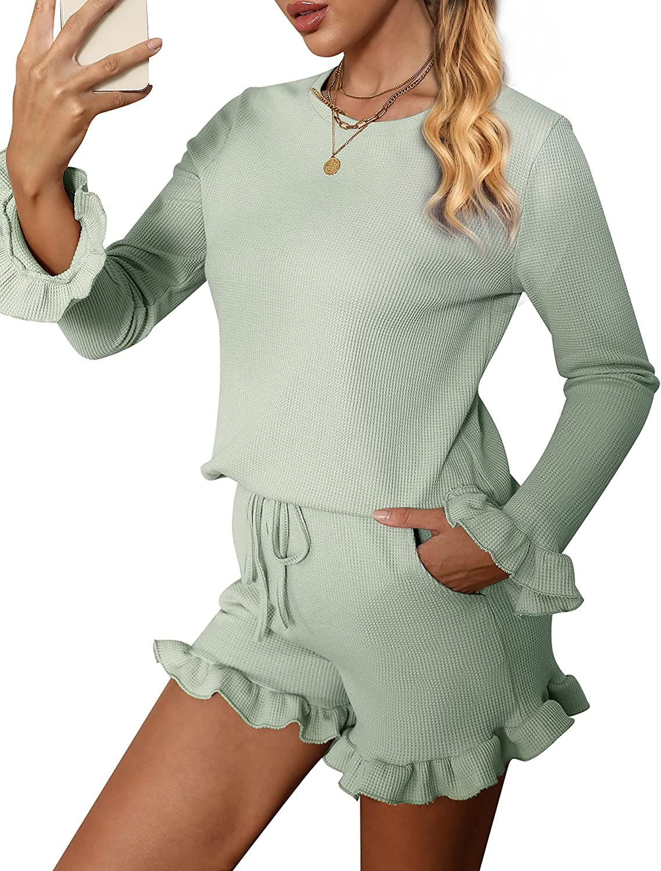 Chriselda Womens Waffle Long Sleeve Lounge Sets 2 Piece Short Sweater Outfits Set Homesuit