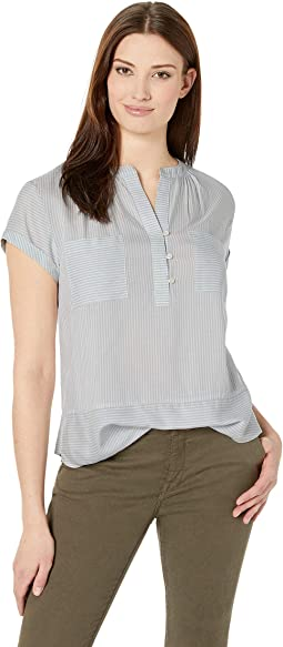 Roll Sleeve Tranquil Pinstripe Two-Pocket Blouse