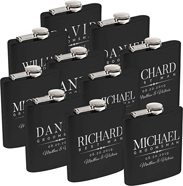 Personalized Flask For Wedding Groomsmen Gift Customized Flask Set FREE Personalization Laser Engraved Design 5 Black 10