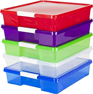 Storex Classroom Student Project Box, 12 x 12 Inches, Assorted Tints, 5-Pack (63202U05C)