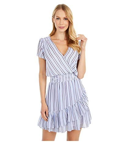 MICHAEL Michael Kors Stripe Short Sleeve Wrap Dress (Crew Blue) Women