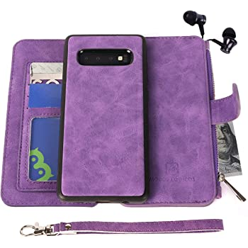 Samsung Galaxy S10 Case, Modos Logicos [Detachable Wallet Folio][2 in 1][Zipper Cash Storage][Up to 14 Card Slots 1 Photo Window] PU Leather Purse with Removable Inner Magnetic TPU Case - Purple