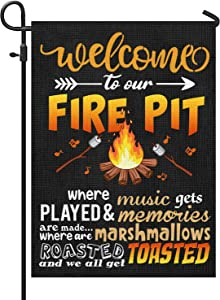Camping Site Decorations, Camping Flag, Camping Signs , Toasted marshmallow Firepit Flag, Vertical Double Sided, 12.5