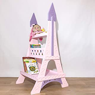 FeliFam Kids shelves wooden bookcase Bookshelf decor Nursery furniture Christmas gift for baby Eiffel Tower (Paris, France), (Pink), Collection: Romantic