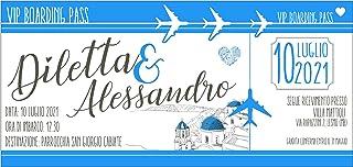 Partecipazioni matrimonio biglietto aereo grecia - inviti nozze biglietto aereo grecia azzurro 10 pezzi