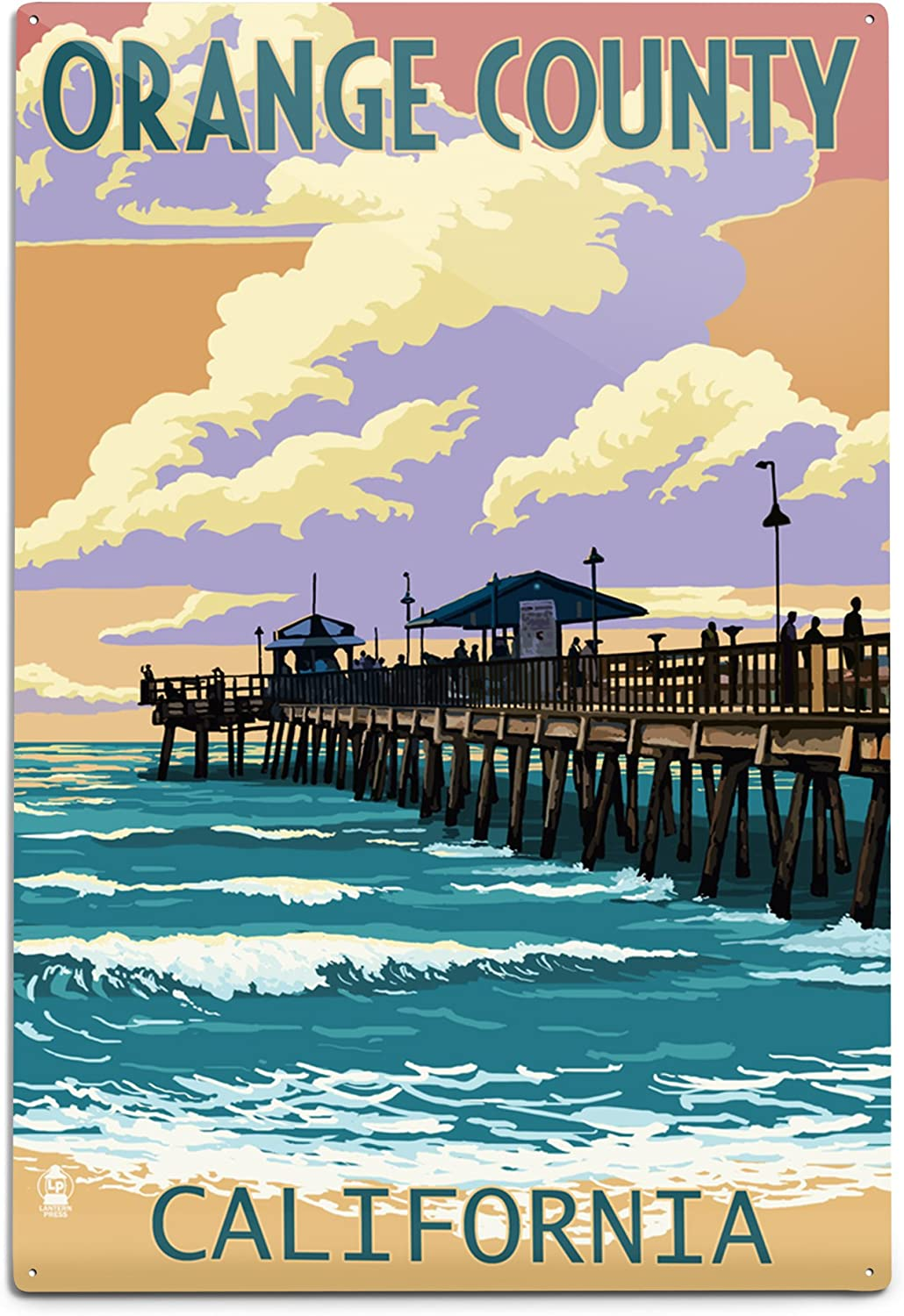 Max 48% OFF Lantern Press Orange security County California Sunset 12x18 and Pier