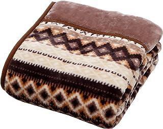 京都 西川 毛布 シングル あったか 洗える 衿付き 2枚合わせ ふっくらやわらか ノルディック柄 2CQ3309 ベージュ 2930916