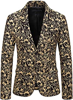 Men's Silver Slim Fit Floral Blazer Peak Lapel Prom Party Coat Christmas Blazer Tuxedos Jacket Casual Coat