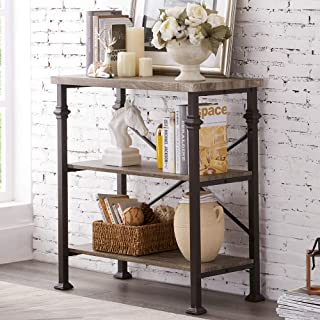 Hombazaar 3-Tier Bookshelf, Rustic Industrial Style...