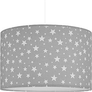 youngDECO Lámpara para habitación de bebé y de niños, con estrellas grises, 2xE27, pantalla grande de Ø38cm