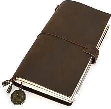 Anteckningsbok i läderjournal för män återfyllningsbara resenärer anteckningsbok vintage äkta läder resedagbok med blixtlå...