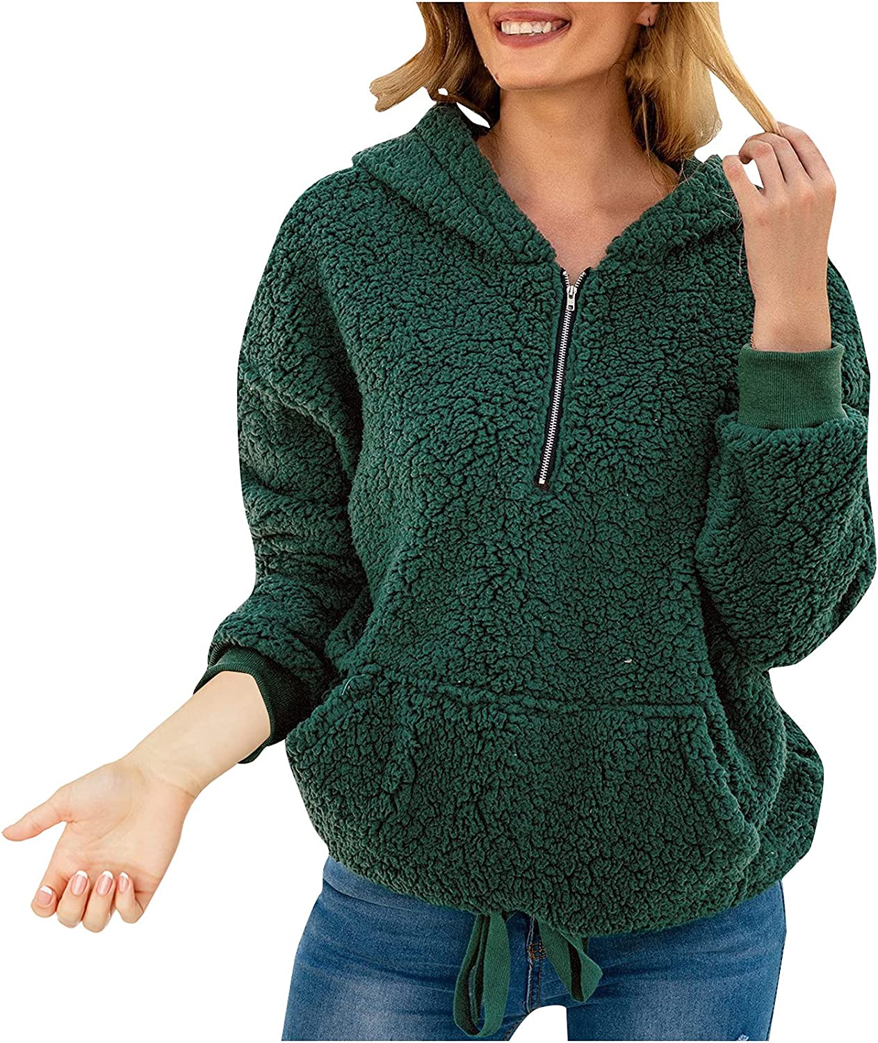 Women's Zipper V Neck Plush Solid Color Hooded Top Coat with Pockets Loose Long Sleeve Hooded Sweater Pullover