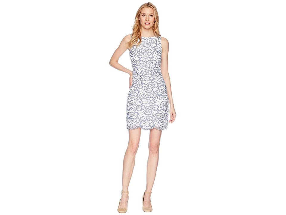 LAUREN Ralph Lauren Magna Blooming Toralina Dress (White/Blue) Women
