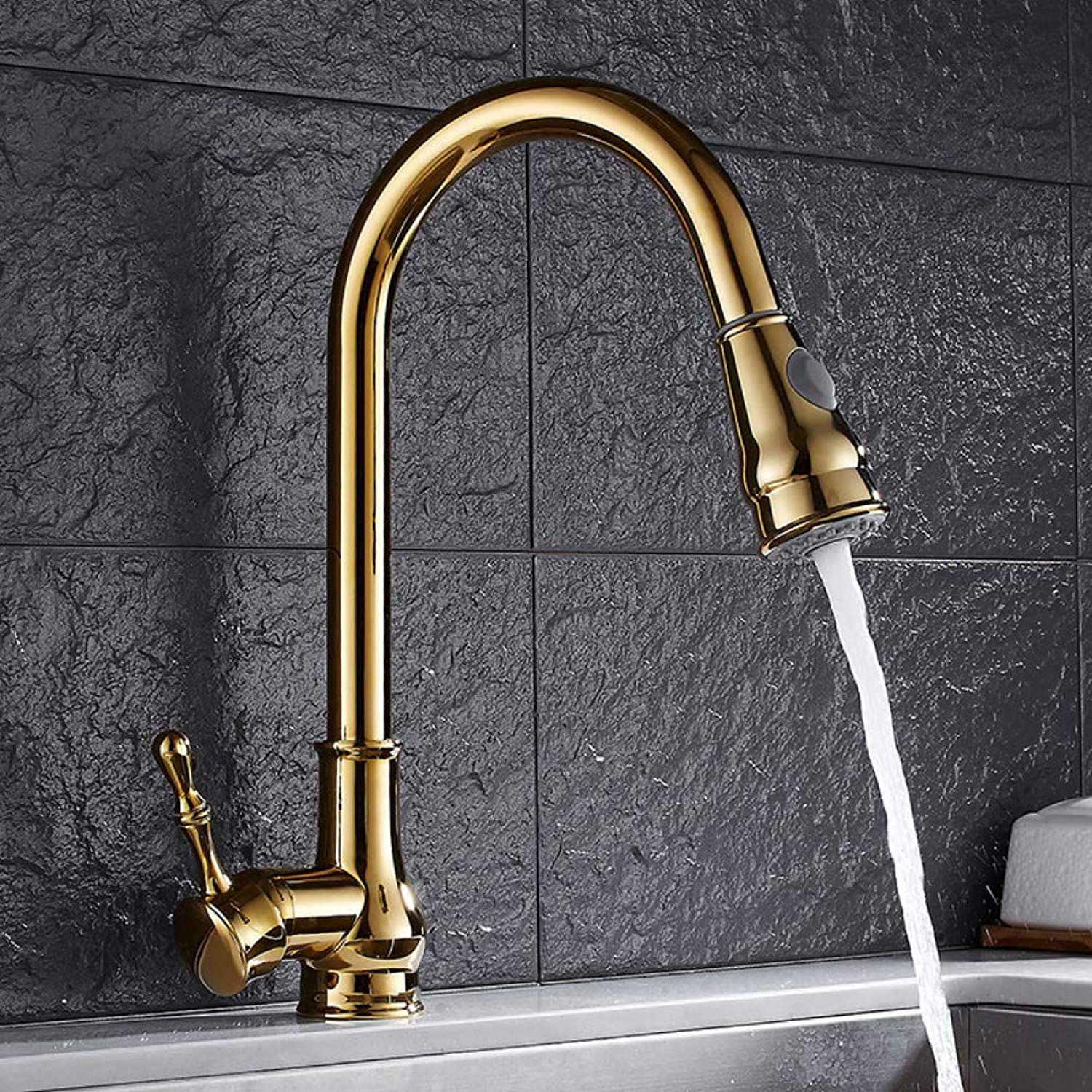 YHSGY Kitchen Taps Copper golden European Kitchen Single Handle Faucet Pull-Type Sink Hot and Cold Water Faucet 360 redation