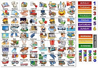 """SchKIDules Visual Schedule for Kids Home Bundle: Daily Calendar and Weekly Progress Chart w/18"""" Reversible Folding Bo..."""