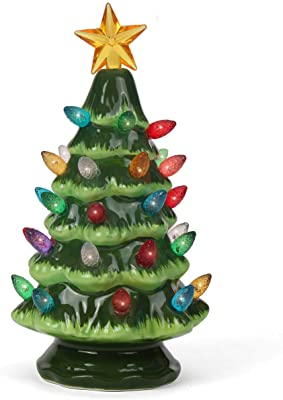 Lighted Ceramic Tabletop Christmas Tree with Multi-Colored Lights Star Toppers LED Lights LouisaYork Ceramic Christmas Tree