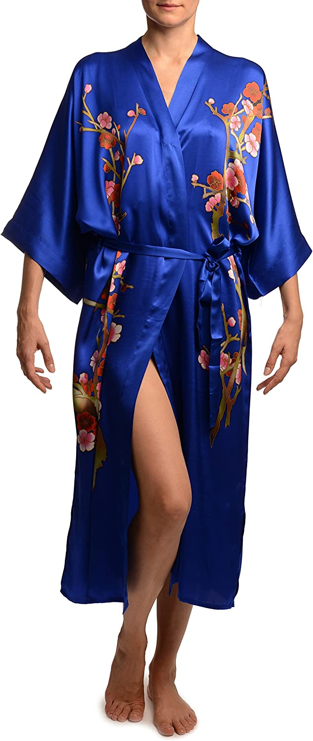 bluee With Sakura Bloom Luxurious Silk Dressing Gown (Robe)  Dressing Gown